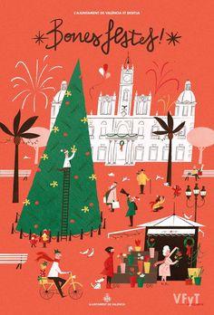 Se presenta el Cartel de Felicitación de Navidad del Ayuntamiento de Valencia Pixelarte ha sido la empresa encargada del diseño este año, que recrea la Plaza del Ayuntamiento