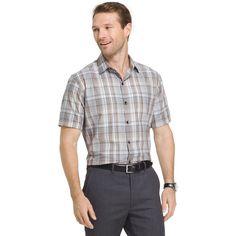 Big & Tall Van Heusen Air Wovens Classic-Fit Poplin Performance Button-Down Shirt, Dark Beige