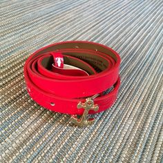 """BR Factory Red patent belt with anchor buckle Bright red patent leather and man made materials. Great anchor brooch buckle in gold. 39"""" long and 1/2"""" wide. Bought last year at Factory Store. NWOT. Banana Republic Accessories Belts"""