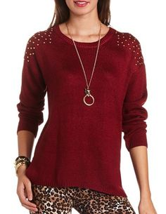 Studded Open-Knit Tunic: Charlotte Russe