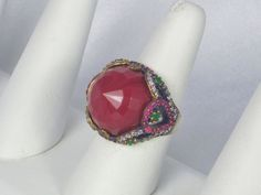 16.12cttw Carnelian, Emerald, Ruby, and Diamond Ring from judysgems on Ruby Lane