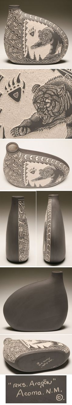 Acoma pottery canteen vessel with sgraffito decoration Pottery Bowls, Ceramic Pottery, Pottery Art, Native American Pottery, Native American Art, Slab Ceramics, Advanced Ceramics, Vase Shapes, Pottery Sculpture