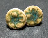 Porcelain Earrings Flower In Forest Green Nickel Free Post Or Stud Style