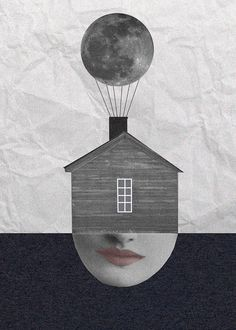 Electric moon © Helena Pallarés #collage #illustration #moon #house