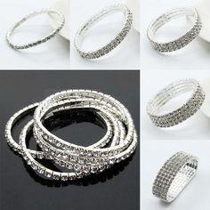 Fashion Bling Womens Crystal Rhinestone Elastic Bracelet Wedding Bridal Cuff Bangle Wristband From Happytraveltime, $4.4 | Dhgate.Com