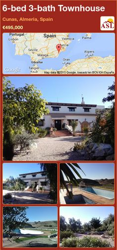 Townhouse for Sale in Cunas, Almeria, Spain with 6 bedrooms, 3 bathrooms - A Spanish Life Double Glass Doors, Double Glazed Window, Entrance Gates, House Entrance, Valencia, Portugal, Dining Room Fireplace, Log Burner, Double Garage