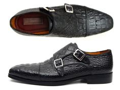 Double monkstrap men's cap-toe handmade shoes.  Black crocodile embossed calfskin upper with antiqued leather sole.  Camel color leather lining.  This is a made-to-order product. Please allow 15 days for the delivery. Because our shoes are hand-painted and couture-level creations, each shoe will have a unique hue and polish, and color may differ slightly from the picture.    Size Guide:    http://s2.postimg.org/4rd6semyh/Size_Guide.png      | Shop this product here…