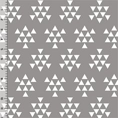 White Triangle Arrows on Gray Cotton Jersey Blend Knit Fabric