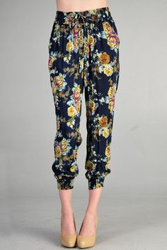 High Waist Gathered Floral Trousers. Re-Pin If you like this product :) Shop the sale on www.Rooja.com