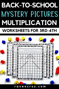 Grab these back-to-school multiplication mystery picture worksheets for your bts math lessons! They are perfect for third grade math and fourth grade math multiplication fluency practice. Math Worksheets, Math Resources, Math Activities, School Resources, Math Rotations, Math Centers, Teaching Tips, Teaching Math, Math Groups