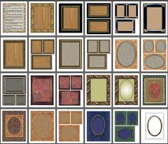 """Heritage"" printable scrapbook frames... this site also has a ton of other digital papers and other scrapbooking links"