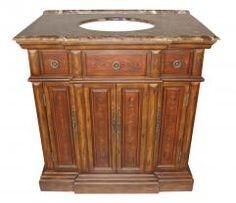 36 Inch Single Sink Bathroom Vanity in a Brown with Red Accents Finish