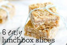 Avoid buying pre-packed snacks on the way to school. Take a peek at our top 6 easy school lunchbox slices. Make on Sunday and grab over the week. Lunch Box Bento, School Lunch Box, School Lunches, Lunch Boxes, Gourmet Recipes, Snack Recipes, Cooking Recipes, Bar Recipes, Recipies