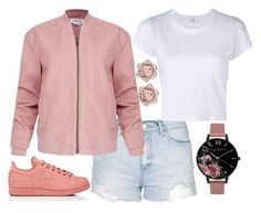 """""""Awesome"""" by joslynaurora ❤ liked on Polyvore featuring Topshop, Helmut Lang, RE/DONE, adidas, Olivia Burton, Pink, jacket, sneakers and short"""