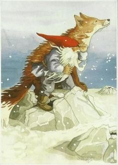 Inge Look Fox and gnome Woodland Creatures, Magical Creatures, Fox Art, Christmas Gnome, Scandinavian Christmas, Children's Book Illustration, Illustrators, Fairy Tales, Drawings