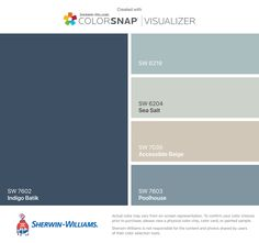 Sherwin-Williams house colors for second side of house: Snowbound (SW Rain (SW Repose Gray (SW Mindful Gray (SW Tradewind (SW Room Colors, Wall Colors, House Colors, Matching Paint Colors, Coordinating Colors, Exterior Paint Colors, Paint Colors For Home, Paint Colours, Paint Ideas For Bedroom
