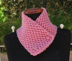 Hand knitted wool scarf neckwarmer scarflette cowl chunky for women autumn winter color pink-violet. $25.00, via Etsy.