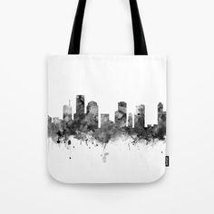 Houston Skyline Black and White Tote Bag by monnprint #houstonskyline #blackandwhite #texas #cityscape #totebag