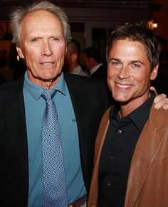 Clint Eastwood & Rob Lowe a very odd combination but probably from Million Dollar Baby Clint Eastwood Pictures, Clint And Scott Eastwood, Famous Men, Famous Faces, Rob Lowe, Celebrity Gallery, Tv Actors, Nerdy Things, Man Alive