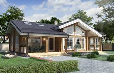 Modern Bungalow Exterior, Modern Bungalow House, Cottage Exterior, Minimal House Design, Minimal Home, Best House Plans, Tiny House Plans, Roof Styles, House Styles
