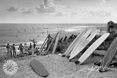 On a faithful summer day in on assignment at Malibu, Leigh Wiener turned his lens on the hoards of surfers at Surfrider Beach, capturing a pristine moment in the history of Los Angeles surf culture. Vintage Surfboards, Cool Posters, Surf Posters, Surf City, Ocean Beach, Beach Photos, Seaside, Surfing, Waves