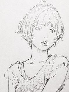 ラクガキして倒れます。 おやすみなさい… Manga Drawing, Drawing Sketches, Art Drawings, Anime Sketch, Character Drawing, Comic Artist, Art Girl, Line Art, Art Reference