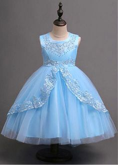 DressilyMe Bridal Dresses Online,Wedding Dresses Ball Gown, in stock alluring tulle satin jewel neckline ball gown flower girl dress with beaded lace appliques bowknot Girls Formal Dresses, Wedding Dresses For Girls, Girls Party Dress, Little Girl Dresses, Baby Dress, Flower Girl Dresses, African Dresses For Kids, African Fashion Dresses, Ball Dresses