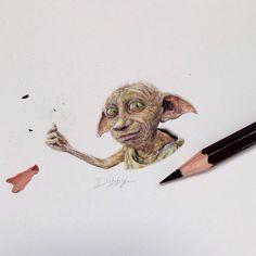Dobby The House Elf Harry Potter. Miniature Tiny Drawings. By Claudia Maccechini.