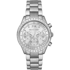 Michael Kors Brinkley Crystal Stainless Steel Bracelet Watch ($257) ❤ liked on Polyvore featuring jewelry, watches, accessories, bracelets, silver, crystal bracelet watch, crystal watches, stainless steel bracelet watch, bracelet watch and michael kors watches