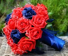 Red rose brides bouquet with navy roses and handle, fully personalised bespoke wedding flowers, this design is available in 1000s of different colour combinations with either diamante or pearl embellishments if liked!