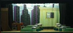 Annie Set Design by Jeanne Benedict Stage Design, Set Design, Design Ideas, Annie Musical, Junior Bed, Stage Set, Bedding Sets, Musicals, Backdrops