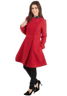 Joie-de-Vivre Jackpot Coat. The joyfulness you exude when clad in this rich red coat by Kling is positively contagious to those around you. #red #modcloth