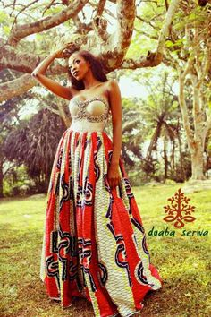 Ankara Full Skirt Dress Beautiful!!! My next affair that calls for a gown…could this be it!!?