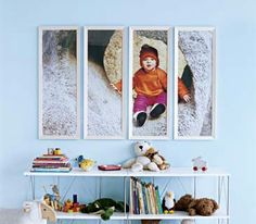 For a striking piece of art, enlarge a favorite photo at an office supply store (make sure it's to a standard frame height), then cut into even sections and frame.