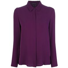 THEORY shirt with pleated back (415 BRL) ❤ liked on Polyvore featuring tops, blouses, shirts, tops and blouses, theory blouse, purple silk blouse, purple silk shirt, long sleeve shirts and purple shirt