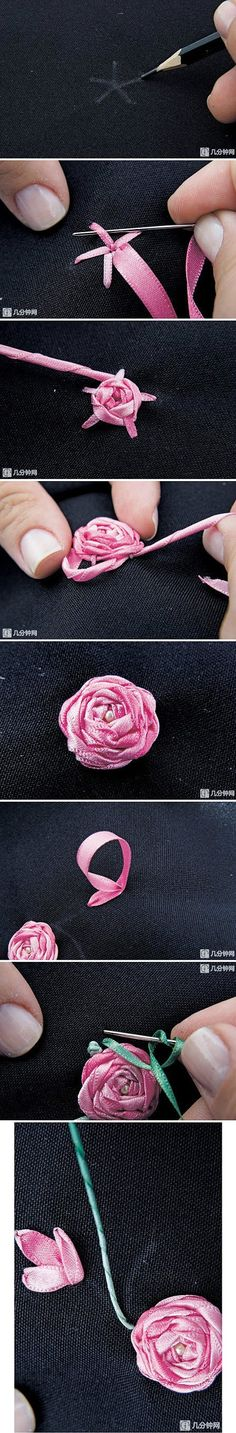 丝带绣针法之五角玫瑰绣-嘀咕网 - 收集...Cool Flower Crafts , Paper Crafts for Teens , paper, craft, flower,wrap, gift, decor,blumen,basteln,bastelvorlage,tutorial diy, spring kids crafts, paper flowers, ribbon, stitch