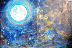 Title: Full moon Technique: Acrylic on canvas Size: cm Year: 2016 Painting Gallery, Year 2016, Full Moon, Canvas Size, Night, Artwork, Color, Harvest Moon, Work Of Art