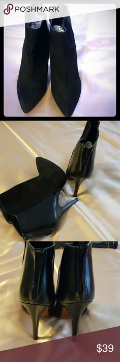 """Zara collection by basic black leather boots Gorgeous leather black high heels boots size. 7 heels hight 4"""" inches. It's used worn a couple of times the leather inside and outside looks great! The  Only sign  of wear is on soles and heels . Zara collection  Shoes Ankle Boots & Booties"""