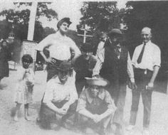 Circa...1919-1920...The Maguerite Bryant Players at Oakford Park in Jeannette, PA. Shemp is in the back row bending down and Moe is in the front row sitting wearing a straw hat