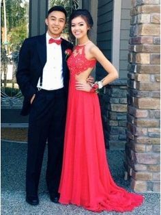 Sexy Halter Sweep Train Red Backless Prom Dress with Lace Top