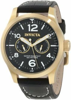 Invicta Men's 10491 Specialty Military Black Dial Black Leather Watch Invicta. Save 84 Off!. $79.99. Water-resistant to 100 m (330 feet). Day and date subdials. Flame-fusion crystal; 18k gold ion-plated stainless steel case; black leather strap with with stitching. Quartz movement. Black dial with gold tone hands, white hour markers and arabic numerals; luminous