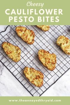 Cheesy Cauliflower Pesto Clouds - The Annoyed Thyroid Lunch Recipes, Real Food Recipes, Vegetarian Recipes, Healthy School Lunches, Kid Lunches, Kid Snacks, School Snacks, Cheesy Cauliflower, Cauliflower Bites