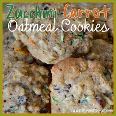 Zucchini Carrot Oatmeal Craisin Cookies   MomOnTimeout.com (I dbl rec. and sub'd 2 eggs for whites. Needs more cinn/van. Also had to add 3-4 min bake time - must make again)