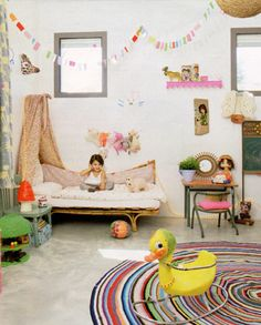 cute nursery with rattan bed + vintage desk and chair