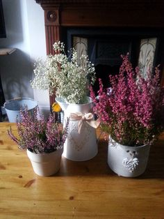 Flower arrangement on our coffee table, heathers and gypsophila, vintage and cosy <3