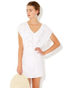 Lenia Cutwork Shirt would help to cool off from the midday sun Cutwork, See By Chloe, Free Clothes, Monsoon, Women's Accessories, Beachwear, Party Dress, White Dress, Vogue