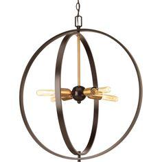 """Progress Lighting P5191 Swing 25"""" Wide 4 Light Globe Pendant Antique Bronze Indoor Lighting Pendants"""