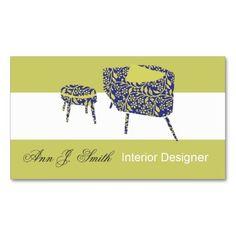 Pea Green Interior Designer Business Card Template at Zazzle.