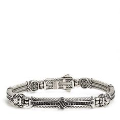 Women's Konstantino 'Aeolus' Lion Head Bracelet ($990) ❤ liked on Polyvore featuring jewelry, bracelets, silver, glitter jewelry, cross jewelry, lion jewelry, crucifix jewelry and konstantino jewelry