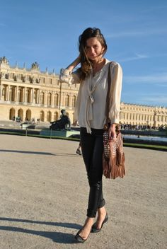 ballet flats and a tie neck blouse